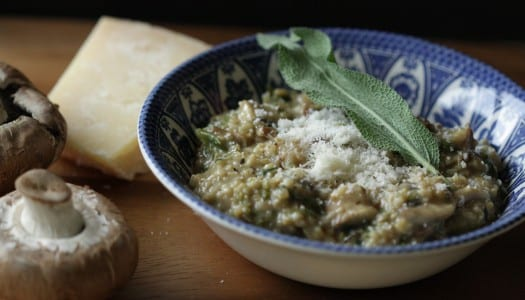 Kale and Mushroom Oatmeal Risotto